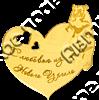 Магнит Сердце Медведь с названием Вашего города зеркальный золото - фото 37210