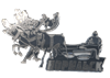 Магнит Оленевод на упряжке с названием Вашего города зеркальный серебро - фото 37245