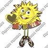 Магнит 1-слойный Солнышко с ножками и зеркальной фурнитурой с символикой Вашего города - фото 53650