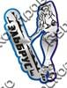 Магнит зеркальный 2-х слойный Девушка со сноубордом и названием Вашего города - фото 53947