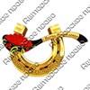 Магнитик 2-хслойный Подкова с ложкой красной икры с символикой Вашего города - фото 54519