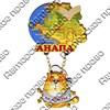 Магнит Качели Карта Вашего региона , края или области с котейкой и зеркальной фурнитурой - фото 54549