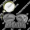 Брелок зеркальный на цветной подложке Очки вид 1 с символикой Вашего города - фото 57335
