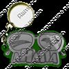 Брелок зеркальный на цветной подложке Очки вид 1 с символикой Вашего города - фото 57337