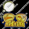 Брелок зеркальный на цветной подложке Очки вид 1 с символикой Вашего города - фото 57338