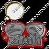 Брелок зеркальный на цветной подложке Очки вид 1 с символикой Вашего города - фото 57339