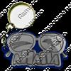 Брелок зеркальный на цветной подложке Очки вид 1 с символикой Вашего города - фото 57341