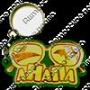 Брелок зеркальный на цветной подложке Очки вид 1 с символикой Вашего города - фото 57342