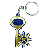 Брелок зеркальный на цветной подложке Ключ со штурвалом и символикой Вашего города - фото 57344