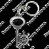 Брелок зеркальный на цветной подложке Ключ со штурвалом и символикой Вашего города - фото 57347
