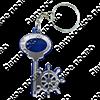 Брелок зеркальный на цветной подложке Ключ со штурвалом и символикой Вашего города - фото 57350
