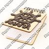Магнит - блокнот деревянный с накладными деталями Штурвал с символикой Вашего города 50 листов - фото 57989