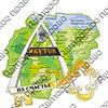 Магнит Карта с зеркальной фурнитурой и символикой г.Якутск - фото 59676